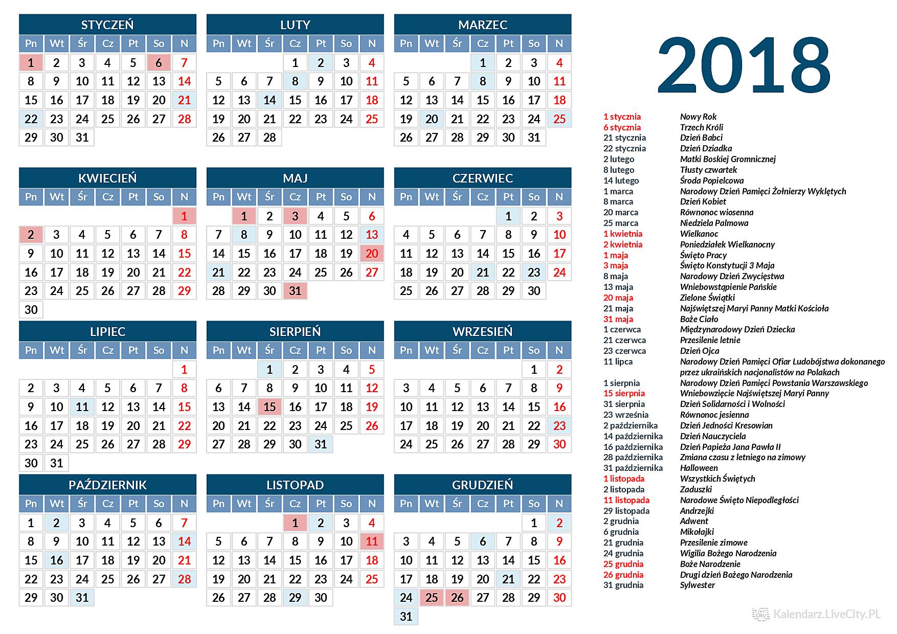 Kalendarz 2018 święta Dni Wolne I Numery Tygodni