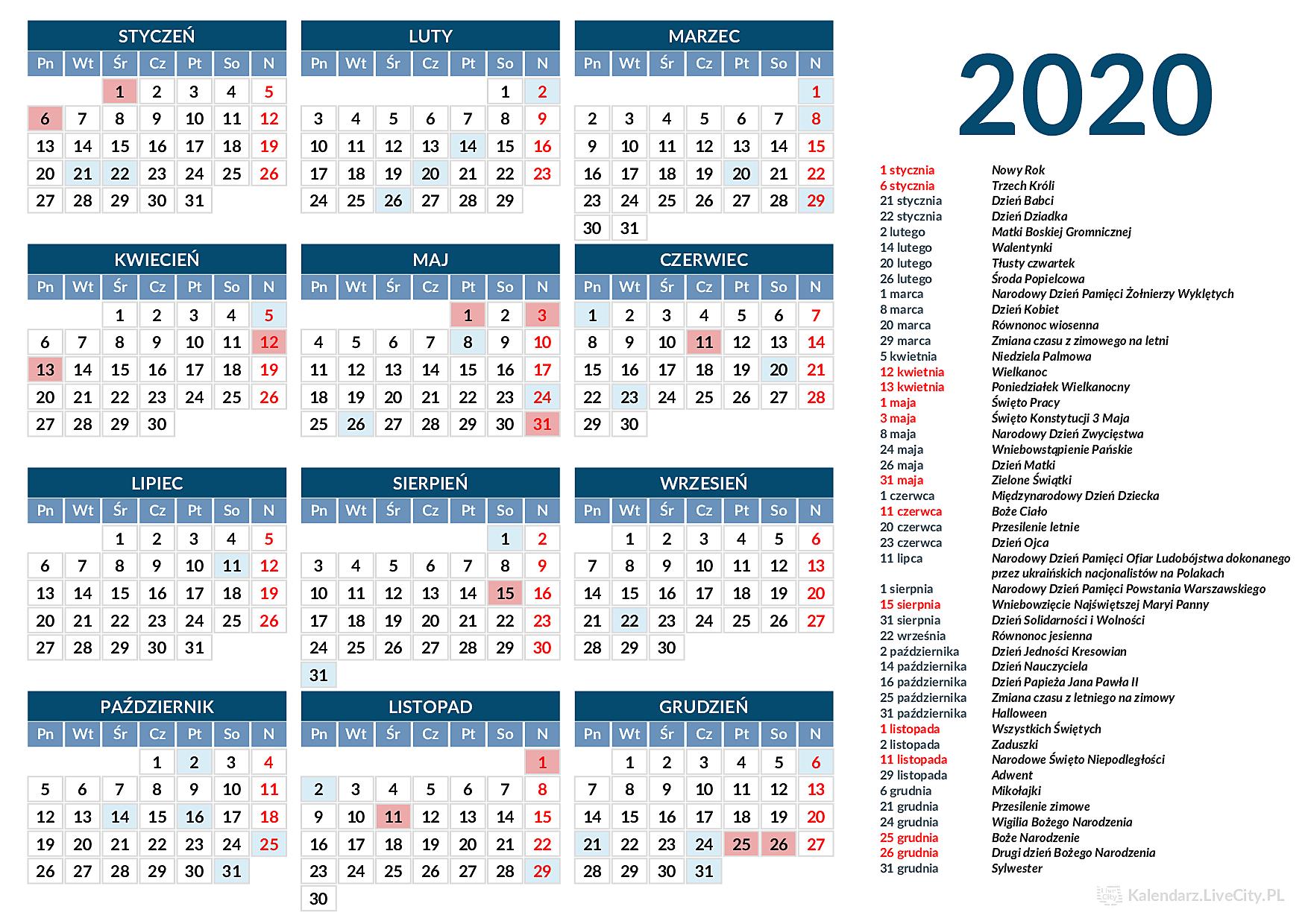 kalendarz rok 2019