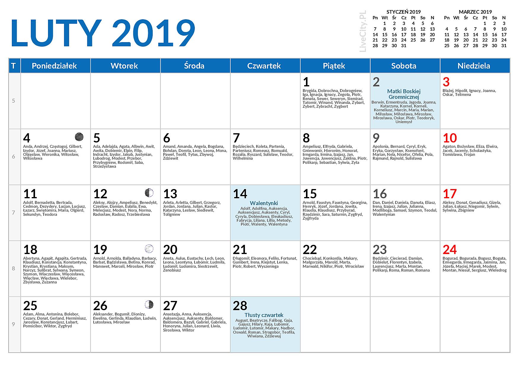 Kalendarz Luty 2019 Kalendarz Lutego