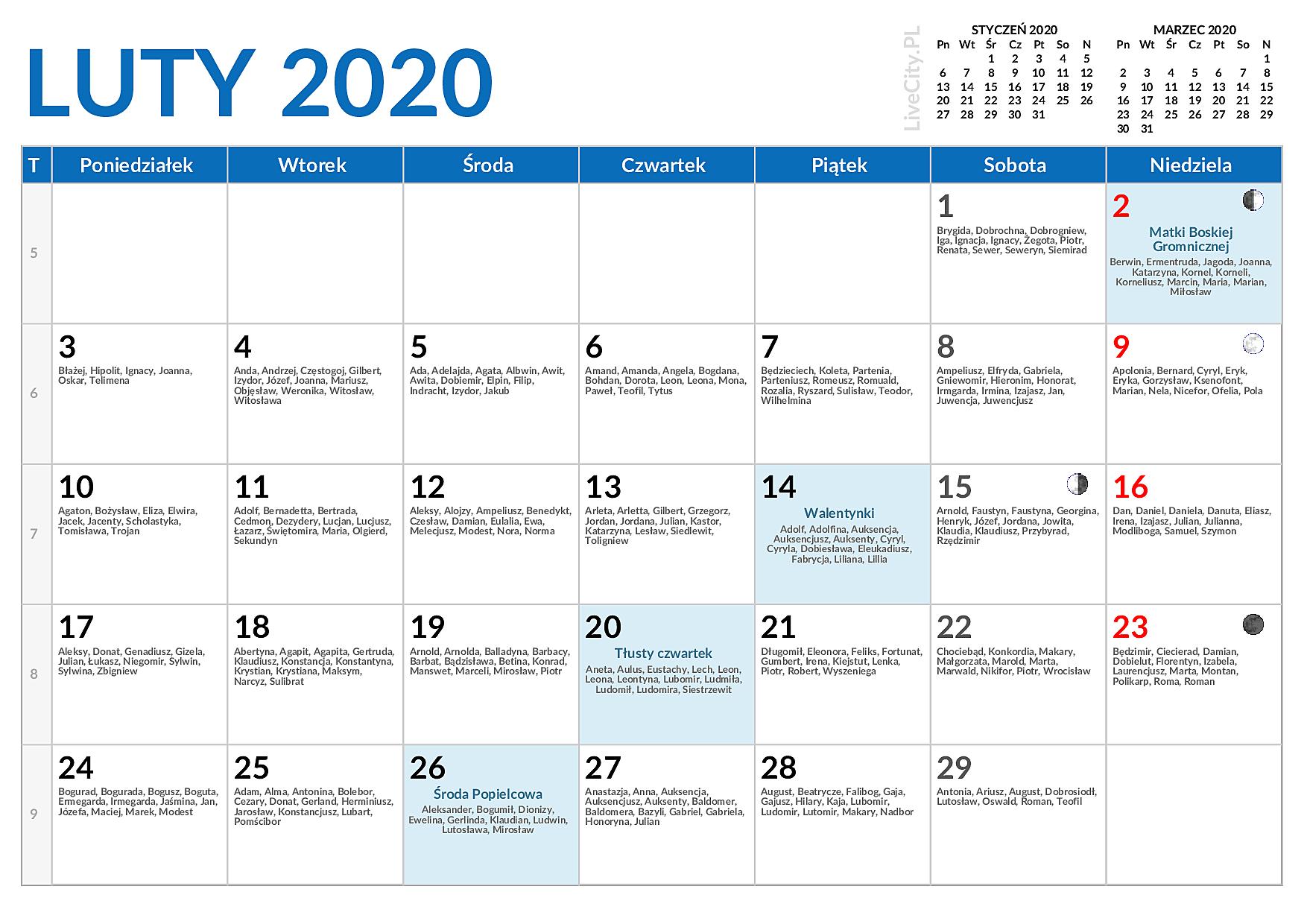 Kalendarz Luty 2020 Kalendarz Lutego