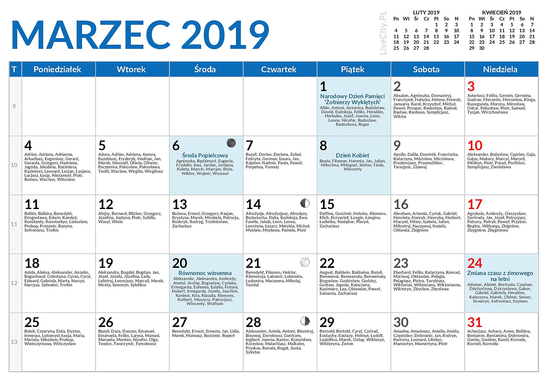 Kalendarz 2019 Imieniny święta I Dni Wolne Od Pracy