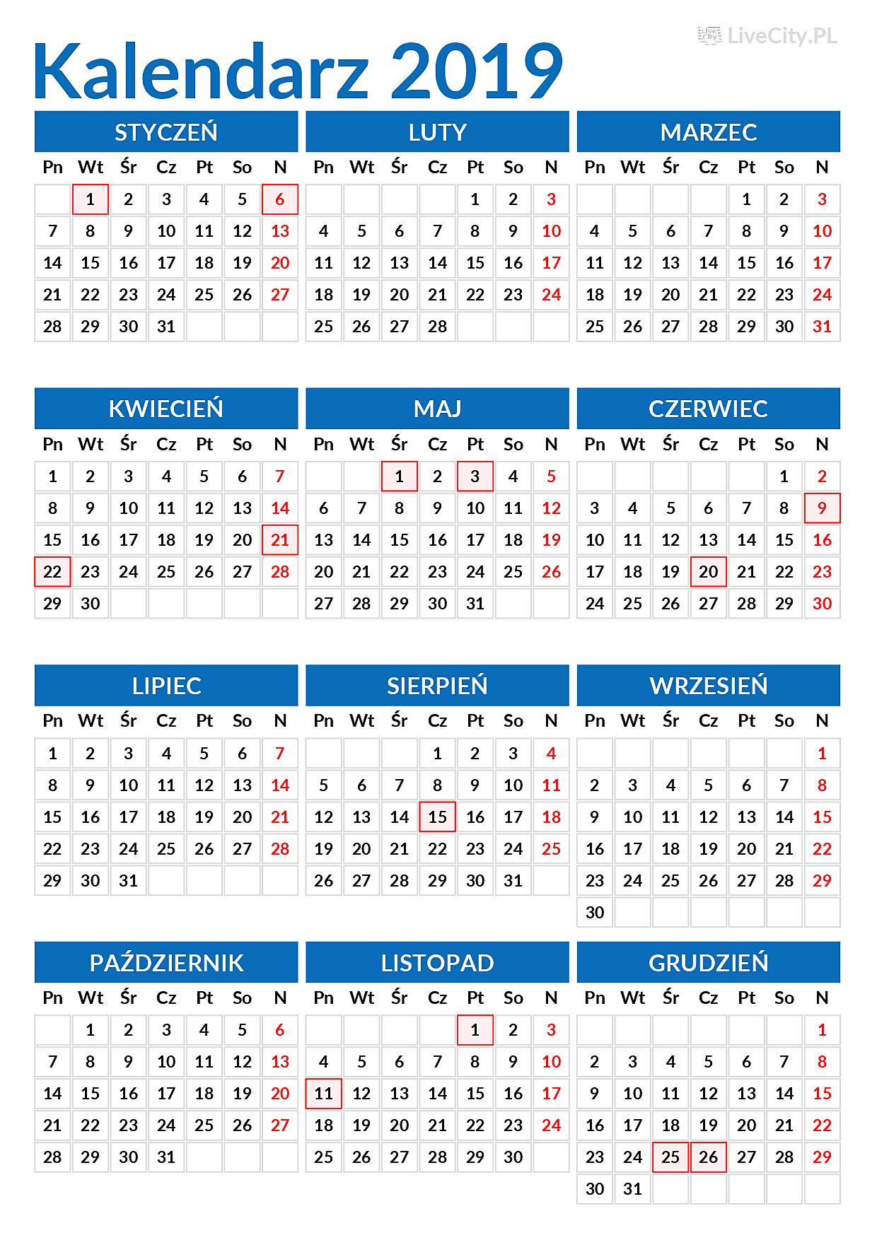 Kalendarz 2019 Pdf Z Dniami Wolnymi Do Wydruku