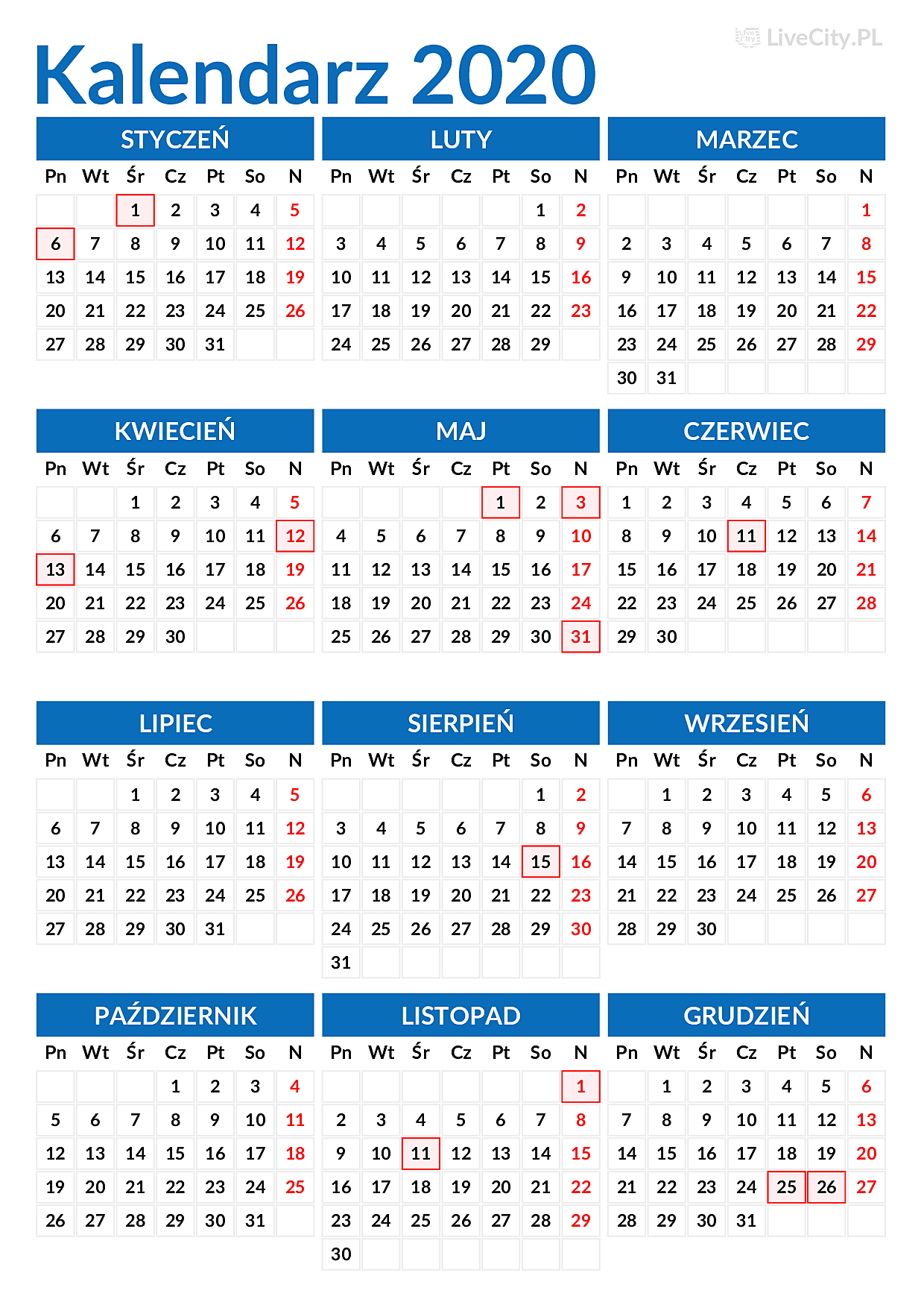 Kalendarz 2020 Pdf Z Dniami Wolnymi Do Wydruku