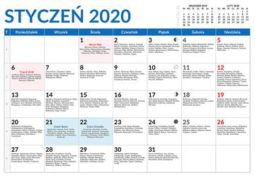 Kalendarz Miesieczny 2020 Do Druku