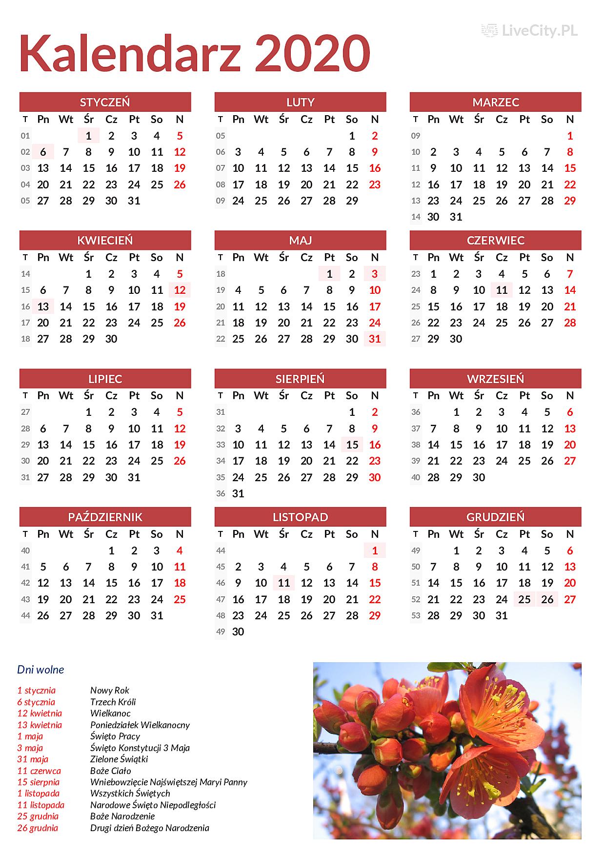 Kalendarz 2020 Do Druku Ze Swietami