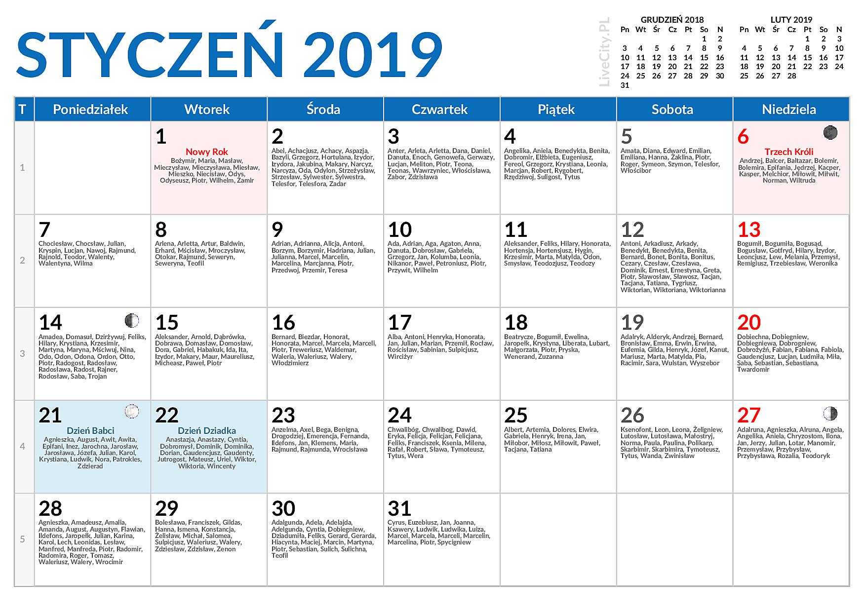 Kalendarz 2019 Do Druku Miesięczny Z Imieninami