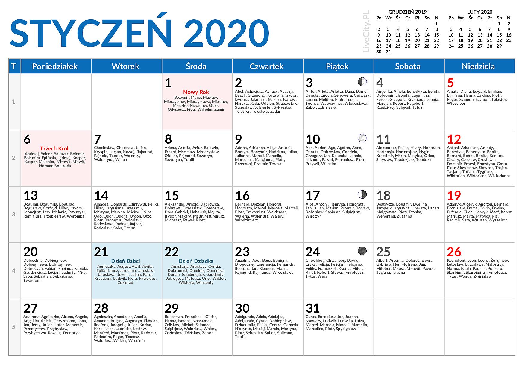 Kalendarz 2020 Do Druku Miesieczny Z Imieninami
