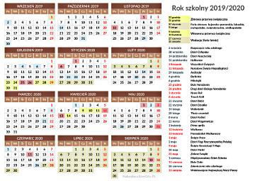 Kalendarz Szkolny 2019 2020 Do Druku
